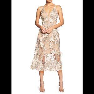 """Dress the population """"Audrey"""" 3D floral lace dress"""